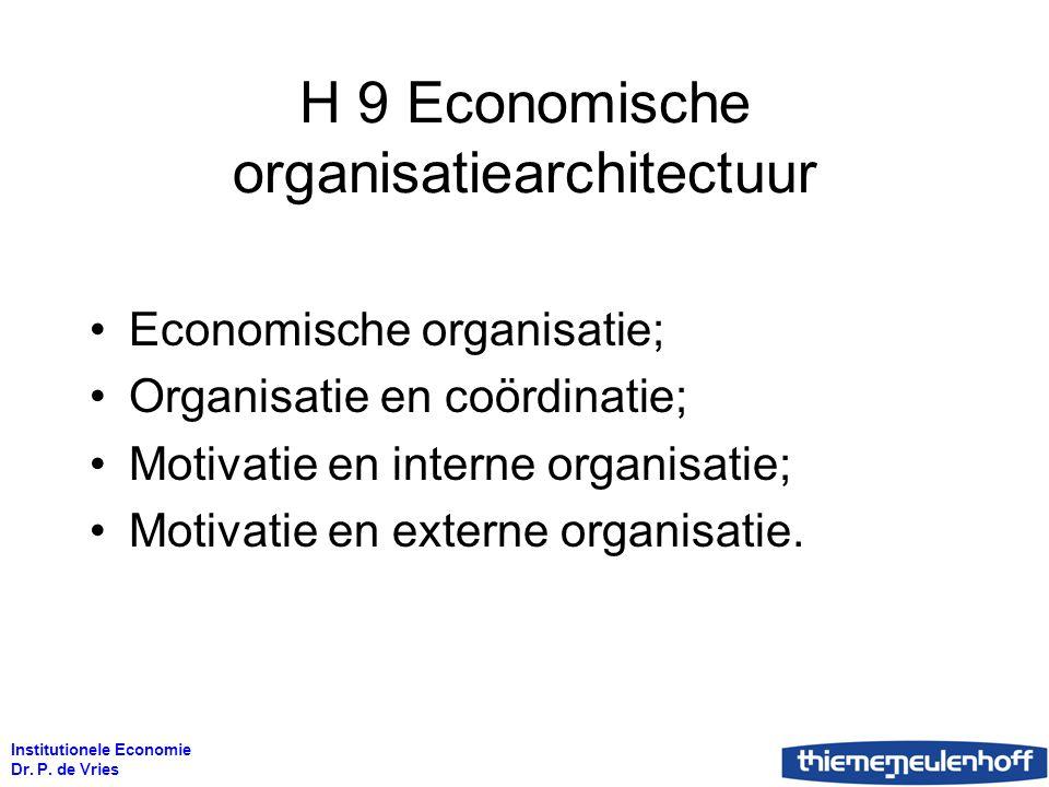 Institutionele Economie Dr. P. de Vries H 9 Economische organisatiearchitectuur Economische organisatie; Organisatie en coördinatie; Motivatie en inte