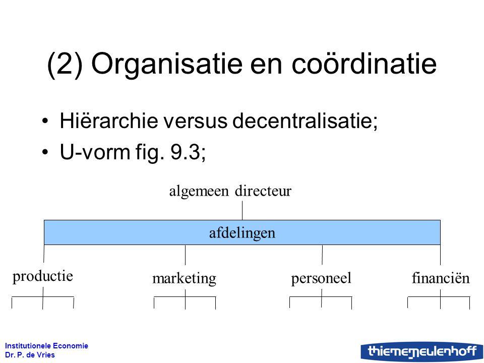 Institutionele Economie Dr. P. de Vries (2) Organisatie en coördinatie Hiërarchie versus decentralisatie; U-vorm fig. 9.3; algemeen directeur afdeling