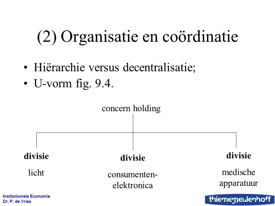 Institutionele Economie Dr. P. de Vries (2) Organisatie en coördinatie Hiërarchie versus decentralisatie; U-vorm fig. 9.4. concern holding divisie con