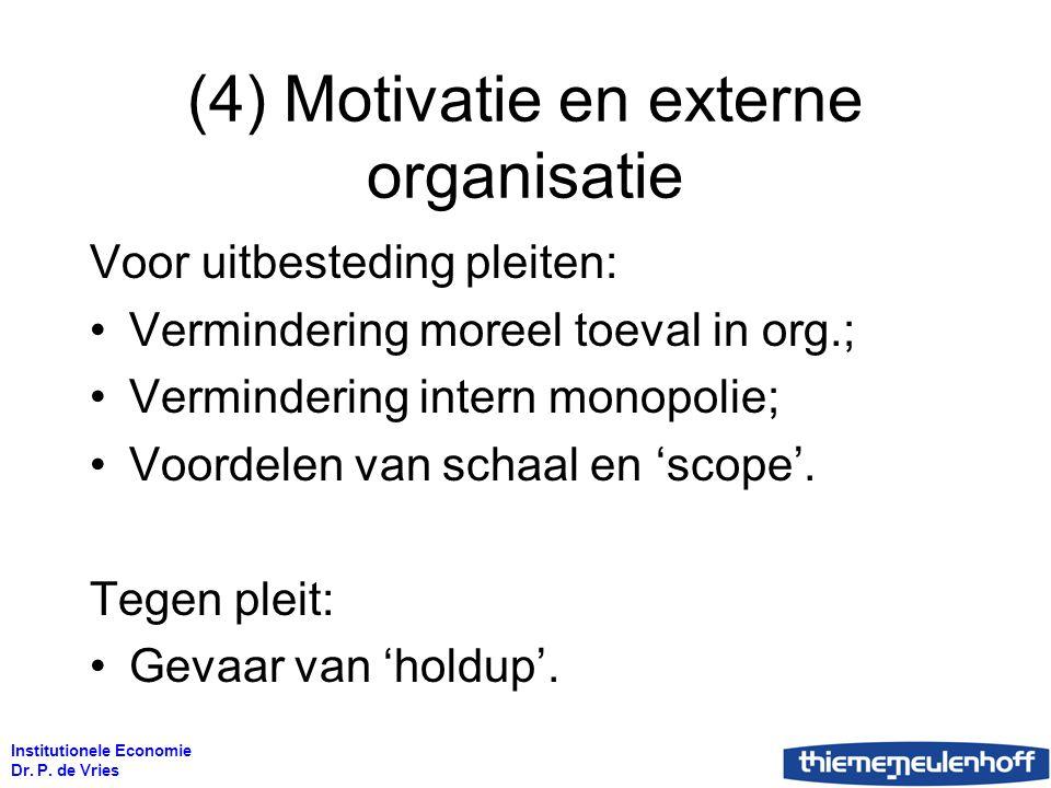 Institutionele Economie Dr. P. de Vries (4) Motivatie en externe organisatie Voor uitbesteding pleiten: Vermindering moreel toeval in org.; Verminderi