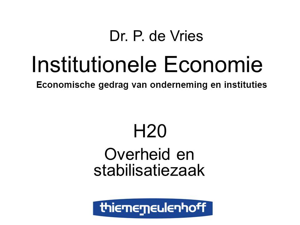 H20 Overheid en stabilisatiezaak Institutionele Economie Economische gedrag van onderneming en instituties Dr.
