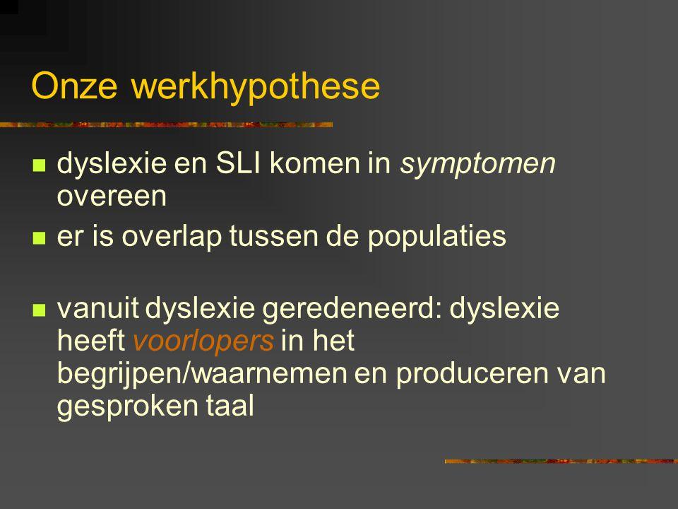 Een conclusie Dyslexie wordt steeds vaker gezien als een taalprobleem, met voorlopers in de ontwikkeling van gesproken taal. Bij voorlopers werd dikwi