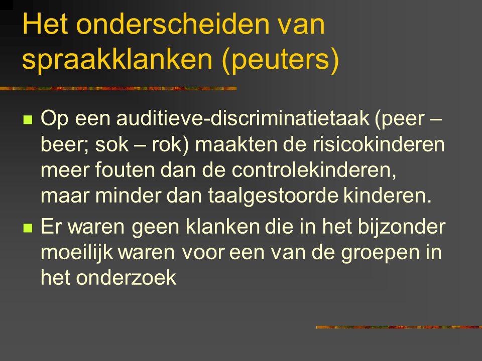Het onderzoek in Utrecht Twee cohorten: Een babygroep (18 maanden bij aanvang van het onderzoek; wordt gevolgd tot 3 jaar). 70 'risicokinderen'; 40 co