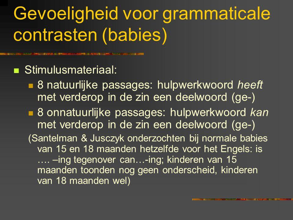 Categoriseren van spraakklanken: conclusie Kinderen met een dyslexierisico nemen minder waar 'in categorieen' dan controlekinderen. Dat geldt echter a