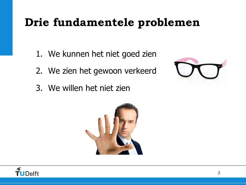2 Drie fundamentele problemen 1.We kunnen het niet goed zien 2.We zien het gewoon verkeerd 3.We willen het niet zien