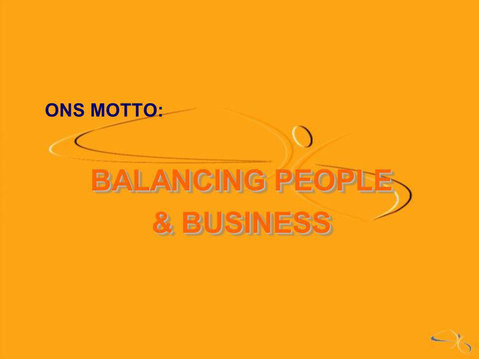 ONS MOTTO: BALANCING PEOPLE & BUSINESS BALANCING PEOPLE & BUSINESS