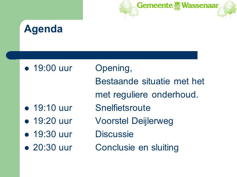 Agenda 19:00 uurOpening, Bestaande situatie met het met reguliere onderhoud. 19:10 uur Snelfietsroute 19:20 uur Voorstel Deijlerweg 19:30 uurDiscussie