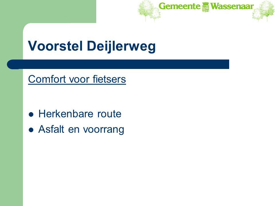 Voorstel Deijlerweg Comfort voor fietsers Herkenbare route Asfalt en voorrang
