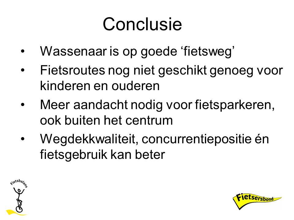 Conclusie Wassenaar is op goede 'fietsweg' Fietsroutes nog niet geschikt genoeg voor kinderen en ouderen Meer aandacht nodig voor fietsparkeren, ook b