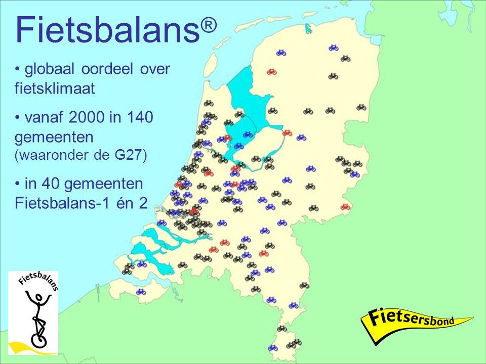 Fietsbalans ® globaal oordeel over fietsklimaat vanaf 2000 in 140 gemeenten (waaronder de G27) in 40 gemeenten Fietsbalans-1 én 2