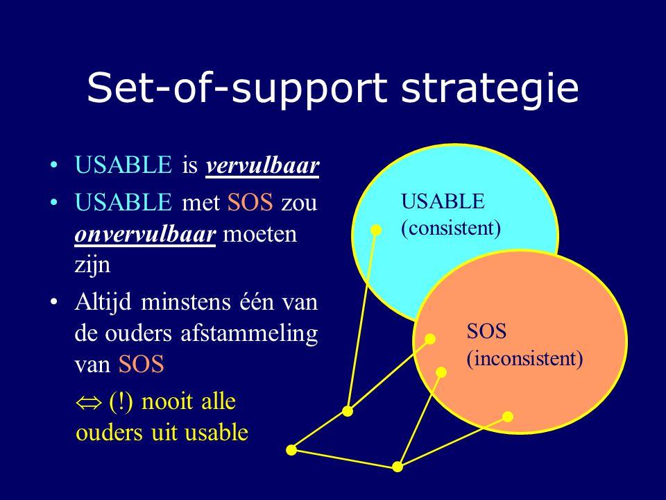 Set-of-support strategie USABLE is vervulbaar USABLE met SOS zou onvervulbaar moeten zijn Altijd minstens één van de ouders afstammeling van SOS USABLE (consistent) SOS (inconsistent)  (!) nooit alle ouders uit usable