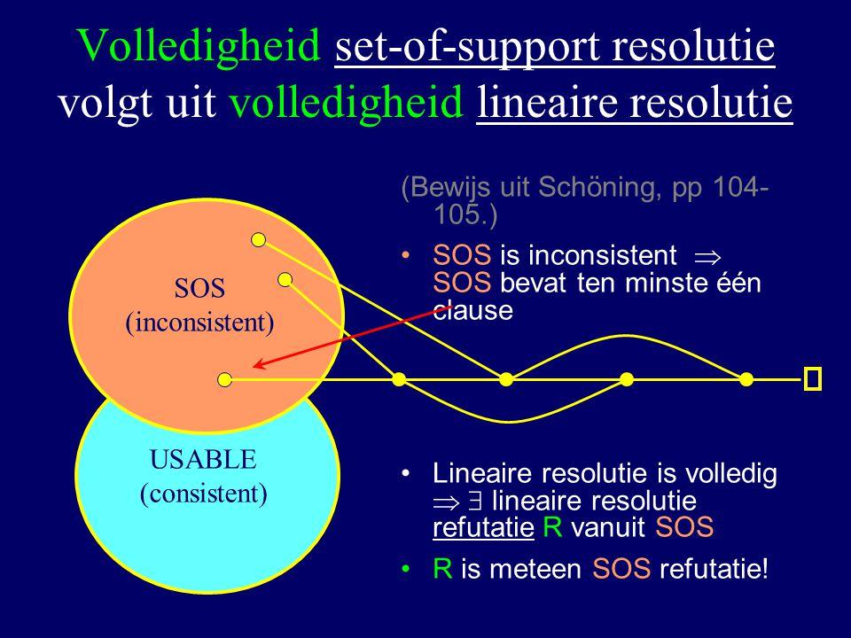 Volledigheid set-of-support resolutie volgt uit volledigheid lineaire resolutie (Bewijs uit Schöning, pp 104- 105.) SOS is inconsistent  SOS bevat ten minste één clause Lineaire resolutie is volledig   lineaire resolutie refutatie R vanuit SOS R is meteen SOS refutatie.