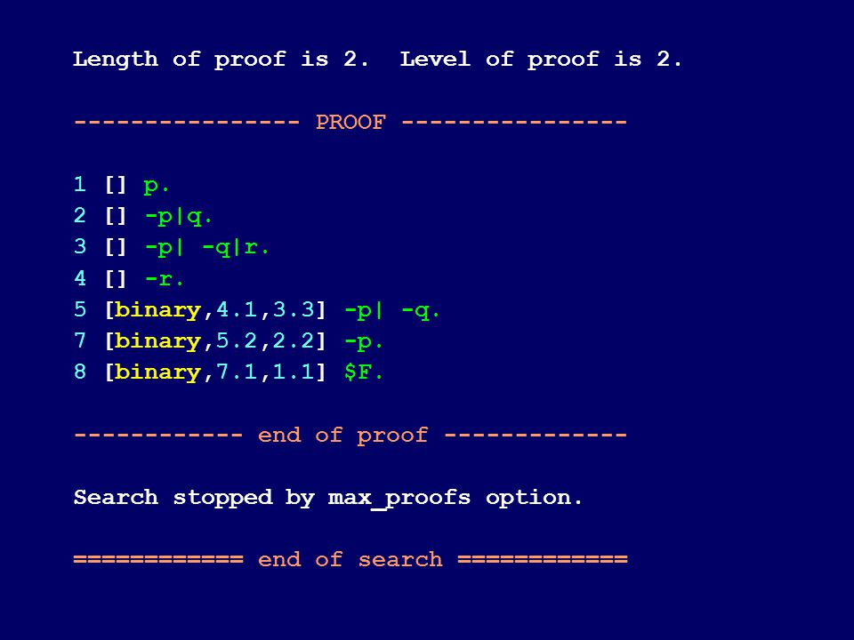 Length of proof is 2. Level of proof is 2. ---------------- PROOF ---------------- 1 [] p.