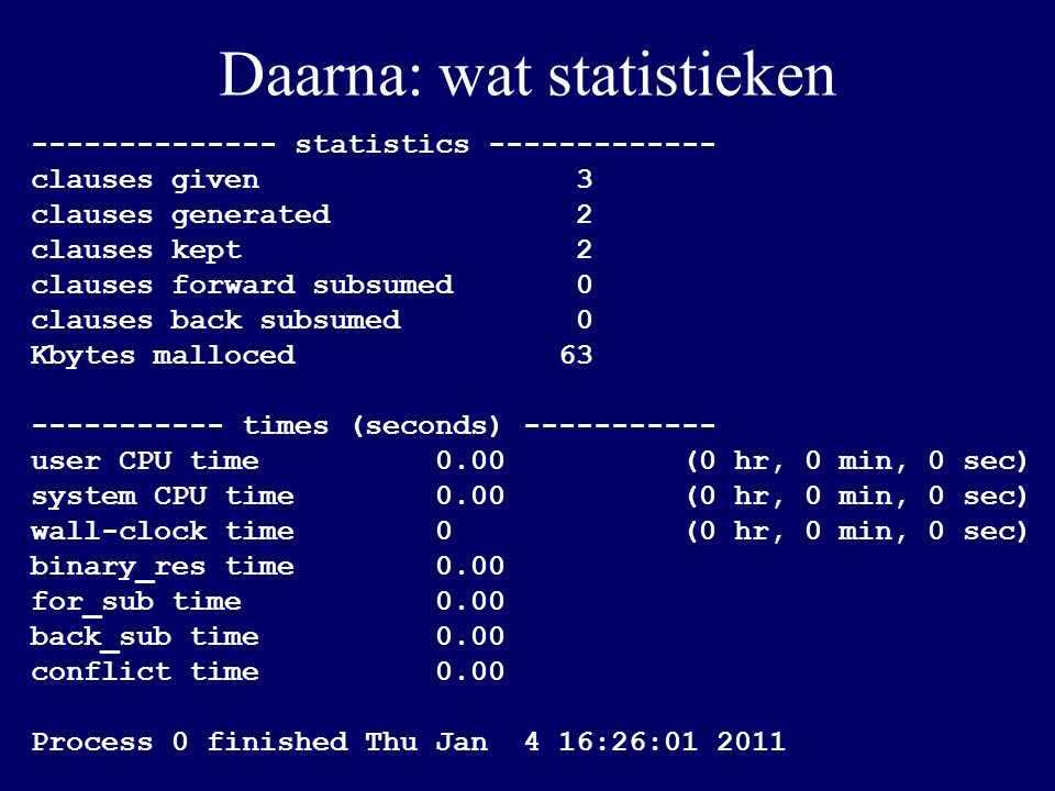 Daarna: wat statistieken -------------- statistics ------------- clauses given 3 clauses generated 2 clauses kept 2 clauses forward subsumed 0 clauses back subsumed 0 Kbytes malloced 63 ----------- times (seconds) ----------- user CPU time 0.00 (0 hr, 0 min, 0 sec) system CPU time 0.00 (0 hr, 0 min, 0 sec) wall-clock time 0 (0 hr, 0 min, 0 sec) binary_res time 0.00 for_sub time 0.00 back_sub time 0.00 conflict time 0.00 Process 0 finished Thu Jan 4 16:26:01 2011