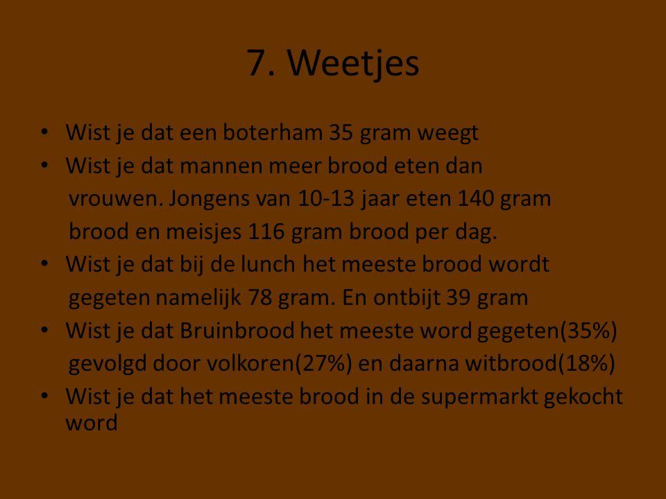 7. Weetjes Wist je dat een boterham 35 gram weegt Wist je dat mannen meer brood eten dan vrouwen. Jongens van 10-13 jaar eten 140 gram brood en meisje