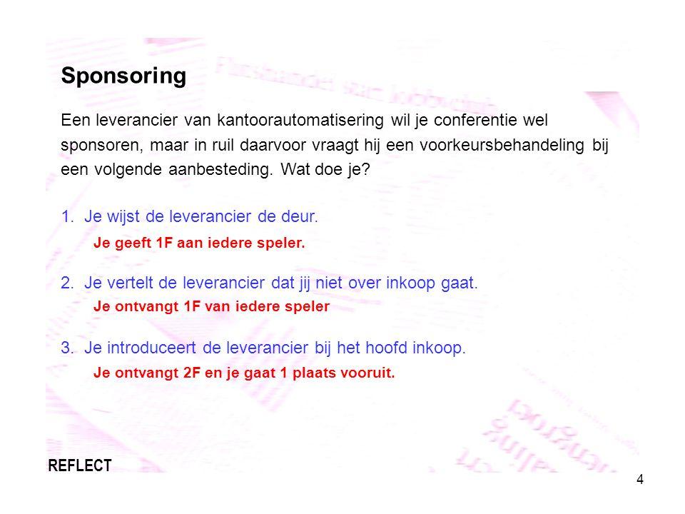 4 Sponsoring Een leverancier van kantoorautomatisering wil je conferentie wel sponsoren, maar in ruil daarvoor vraagt hij een voorkeursbehandeling bij een volgende aanbesteding.