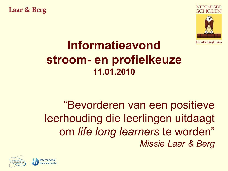 """Informatieavond stroom- en profielkeuze 11.01.2010 """"Bevorderen van een positieve leerhouding die leerlingen uitdaagt om life long learners te worden"""""""