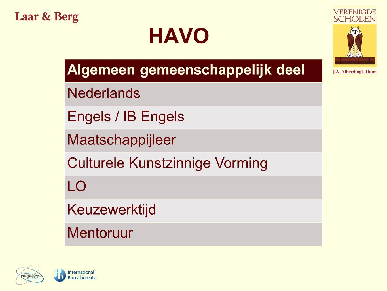 HAVO Algemeen gemeenschappelijk deel Nederlands Engels / IB Engels Maatschappijleer Culturele Kunstzinnige Vorming LO Keuzewerktijd Mentoruur