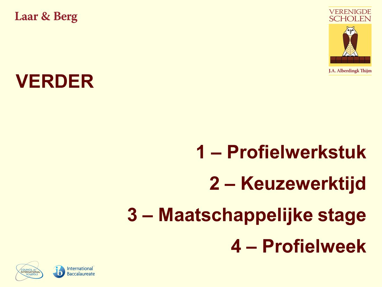 VERDER 1 – Profielwerkstuk 2 – Keuzewerktijd 3 – Maatschappelijke stage 4 – Profielweek