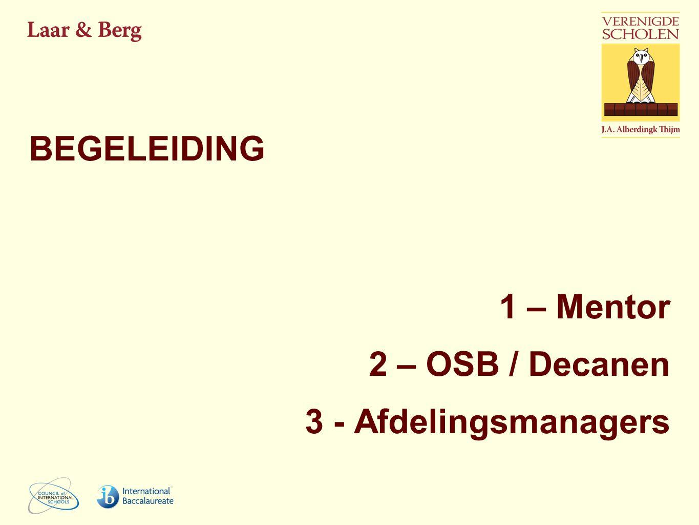 BEGELEIDING 1 – Mentor 2 – OSB / Decanen 3 - Afdelingsmanagers