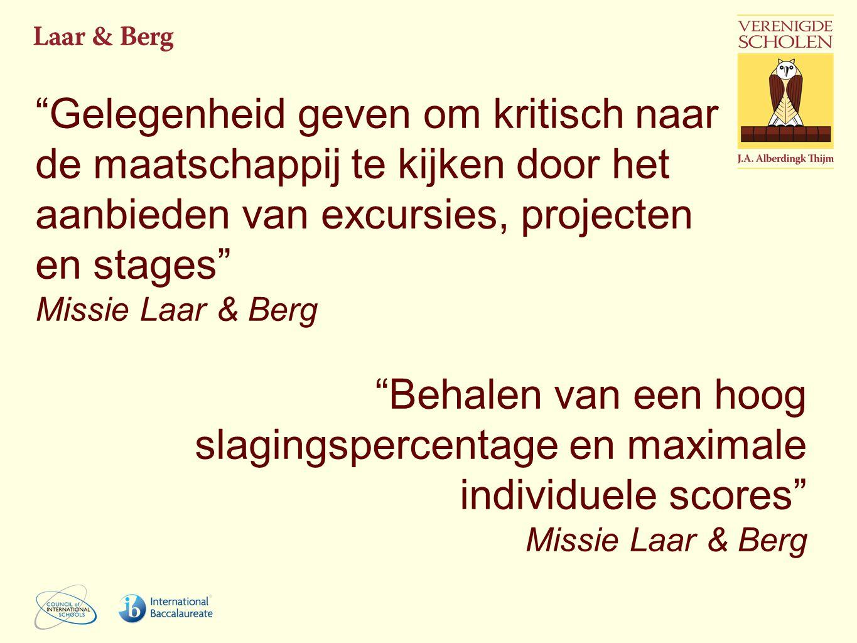Gelegenheid geven om kritisch naar de maatschappij te kijken door het aanbieden van excursies, projecten en stages Missie Laar & Berg Behalen van een hoog slagingspercentage en maximale individuele scores Missie Laar & Berg