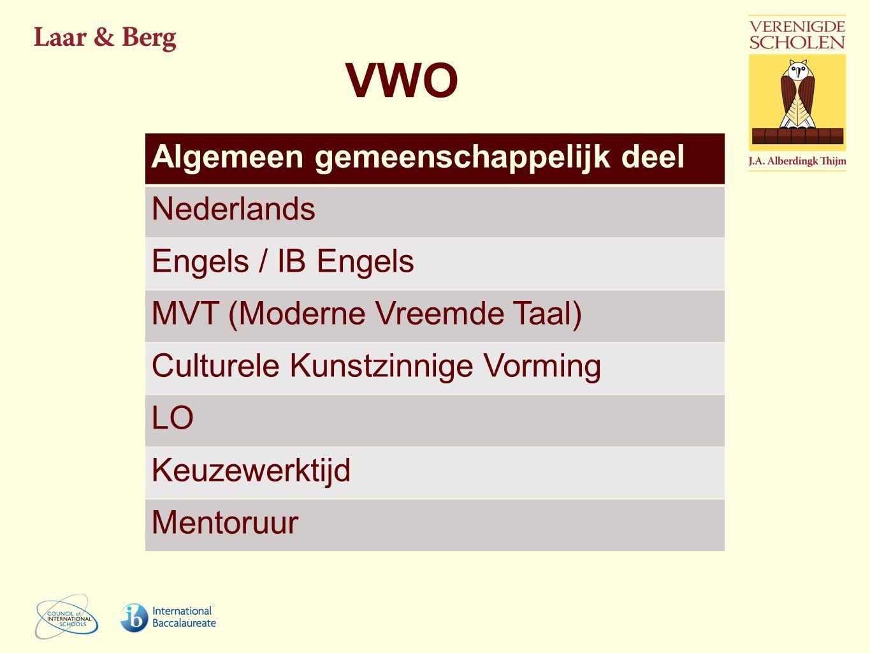 VWO Algemeen gemeenschappelijk deel Nederlands Engels / IB Engels MVT (Moderne Vreemde Taal) Culturele Kunstzinnige Vorming LO Keuzewerktijd Mentoruur