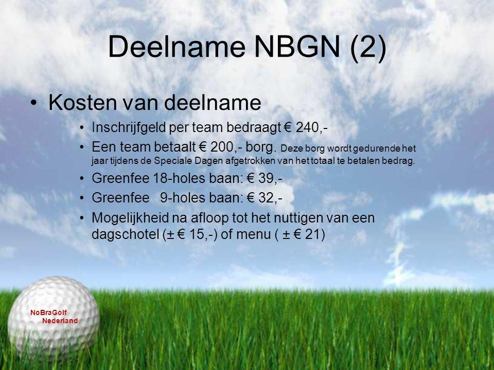 Deelname NBGN (2) Kosten van deelname Inschrijfgeld per team bedraagt € 240,- Een team betaalt € 200,- borg. Deze borg wordt gedurende het jaar tijden