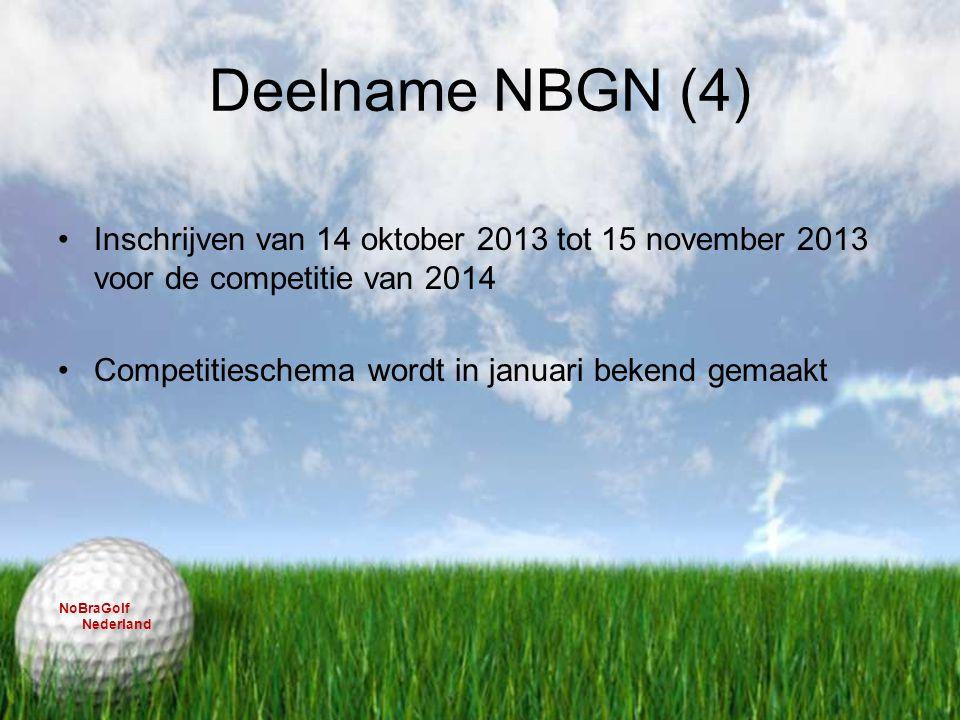 Deelname NBGN (4) Inschrijven van 14 oktober 2013 tot 15 november 2013 voor de competitie van 2014 Competitieschema wordt in januari bekend gemaakt No