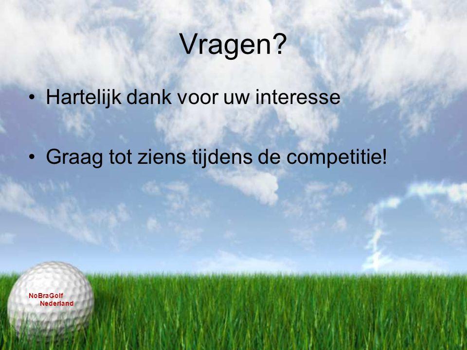 Vragen? Hartelijk dank voor uw interesse Graag tot ziens tijdens de competitie! NoBraGolf Nederland