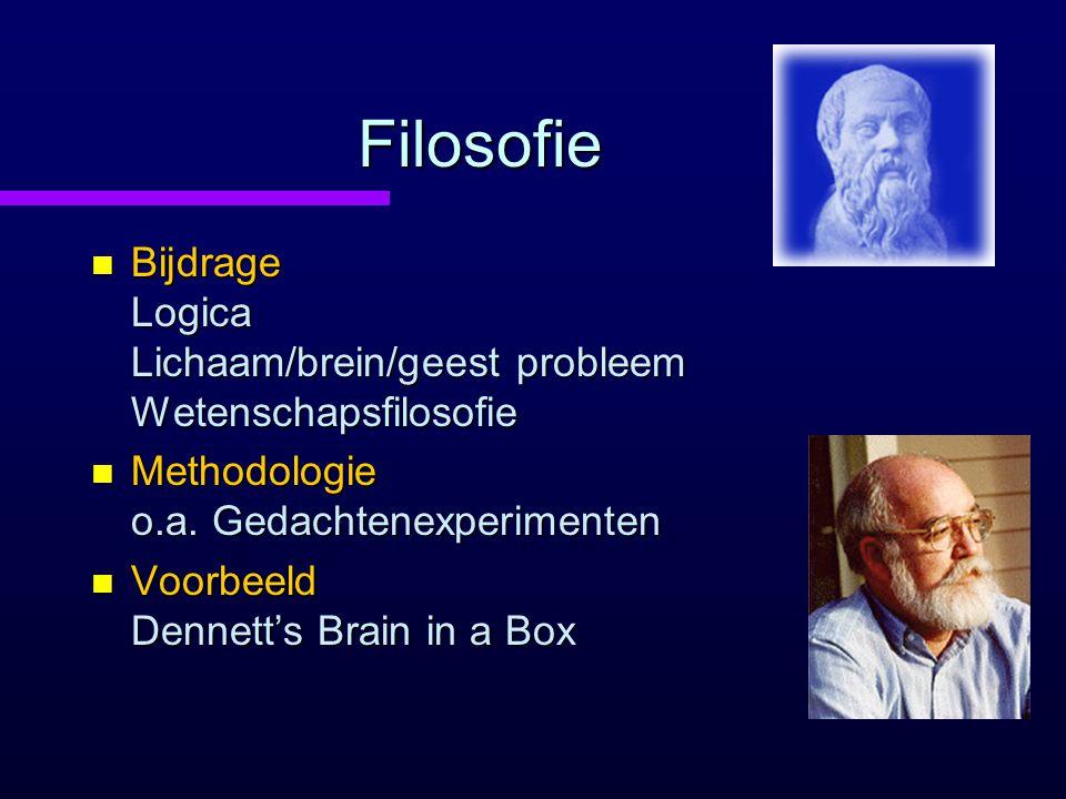 Filosofie n Bijdrage Logica Lichaam/brein/geest probleem Wetenschapsfilosofie n Methodologie o.a.
