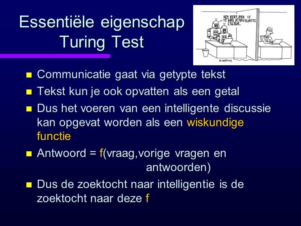 Essentiële eigenschap Turing Test n Communicatie gaat via getypte tekst n Tekst kun je ook opvatten als een getal n Dus het voeren van een intelligente discussie kan opgevat worden als een wiskundige functie n Antwoord = f(vraag,vorige vragen en antwoorden) n Dus de zoektocht naar intelligentie is de zoektocht naar deze f