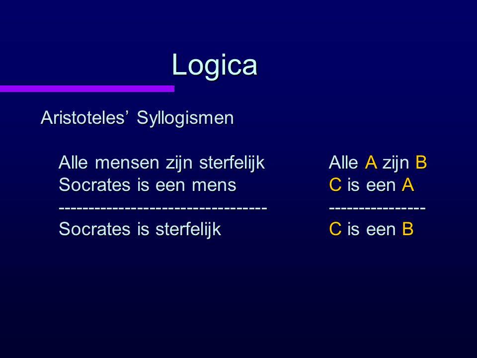 Logica Aristoteles' Syllogismen Alle mensen zijn sterfelijk Socrates is een mens ---------------------------------- Socrates is sterfelijk Alle A zijn B C is een A ---------------- C is een B