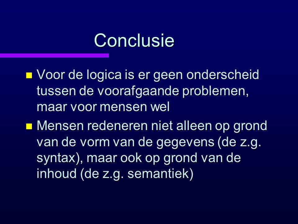 Conclusie n Voor de logica is er geen onderscheid tussen de voorafgaande problemen, maar voor mensen wel n Mensen redeneren niet alleen op grond van de vorm van de gegevens (de z.g.