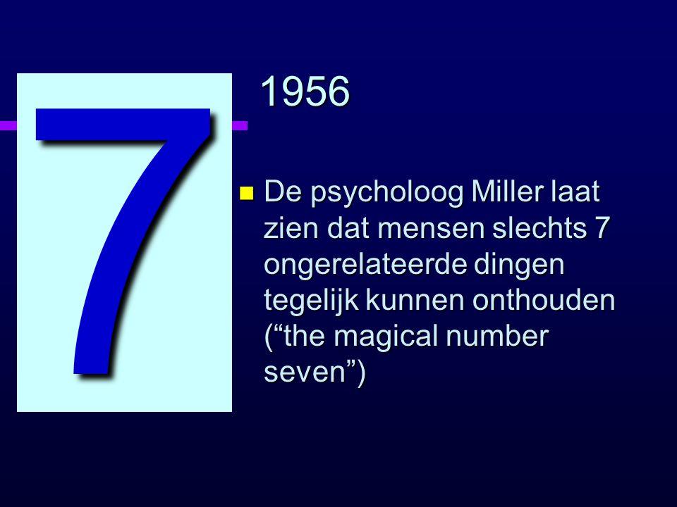 1956 n De psycholoog Miller laat zien dat mensen slechts 7 ongerelateerde dingen tegelijk kunnen onthouden ( the magical number seven ) 7