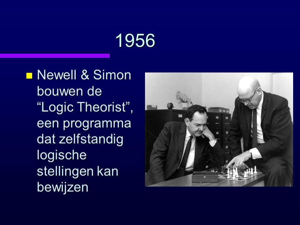 1956 n Newell & Simon bouwen de Logic Theorist , een programma dat zelfstandig logische stellingen kan bewijzen