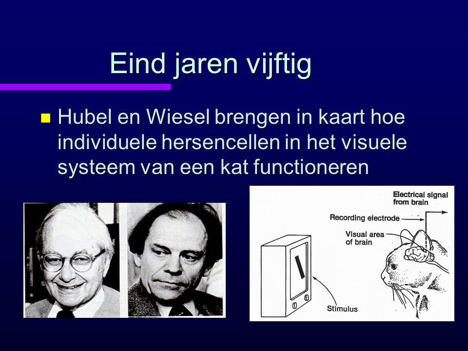 Eind jaren vijftig n Hubel en Wiesel brengen in kaart hoe individuele hersencellen in het visuele systeem van een kat functioneren