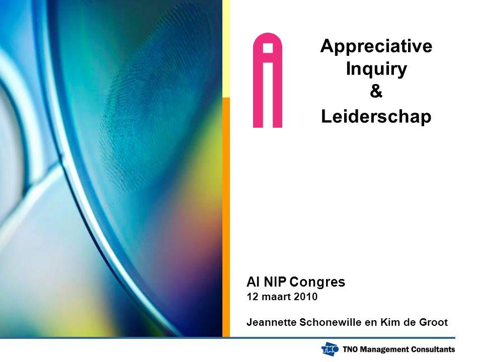 Appreciative Inquiry & Leiderschap AI NIP Congres 12 maart 2010 Jeannette Schonewille en Kim de Groot