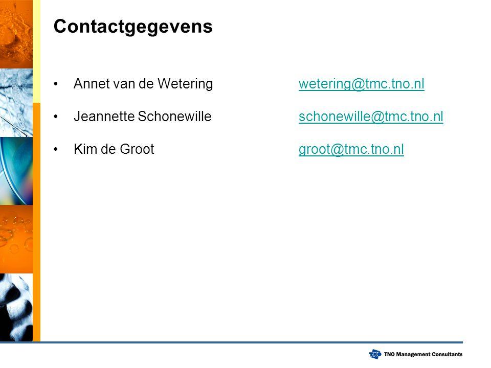 Contactgegevens Annet van de Wetering wetering@tmc.tno.nlwetering@tmc.tno.nl Jeannette Schonewilleschonewille@tmc.tno.nlschonewille@tmc.tno.nl Kim de Grootgroot@tmc.tno.nlgroot@tmc.tno.nl