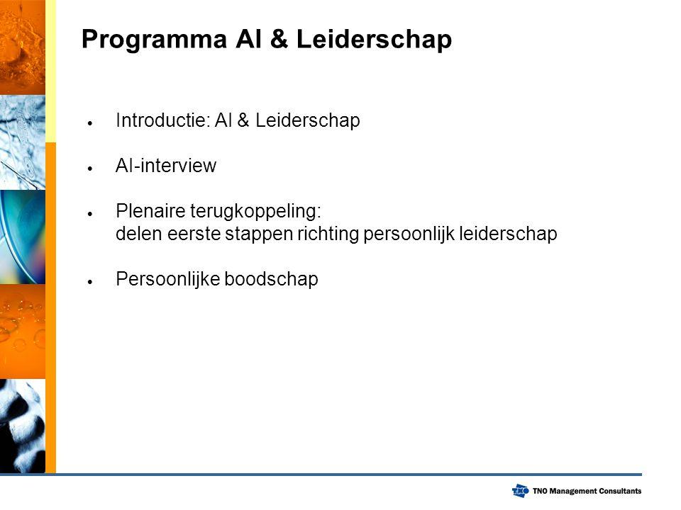 Programma AI & Leiderschap  Introductie: AI & Leiderschap  AI-interview  Plenaire terugkoppeling: delen eerste stappen richting persoonlijk leiders