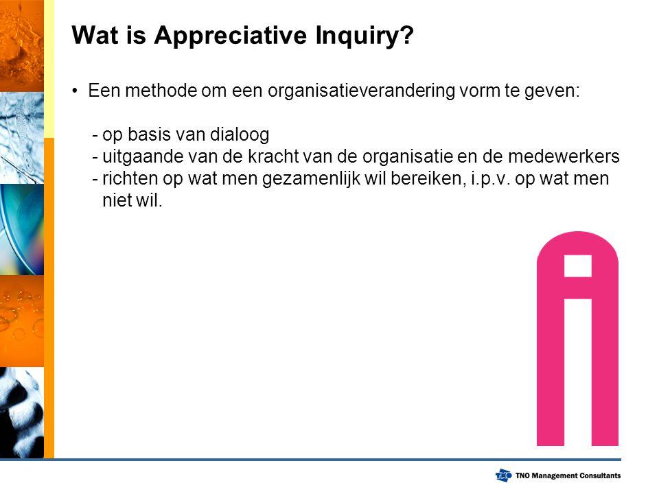 Wat is Appreciative Inquiry? Een methode om een organisatieverandering vorm te geven: - op basis van dialoog - uitgaande van de kracht van de organisa
