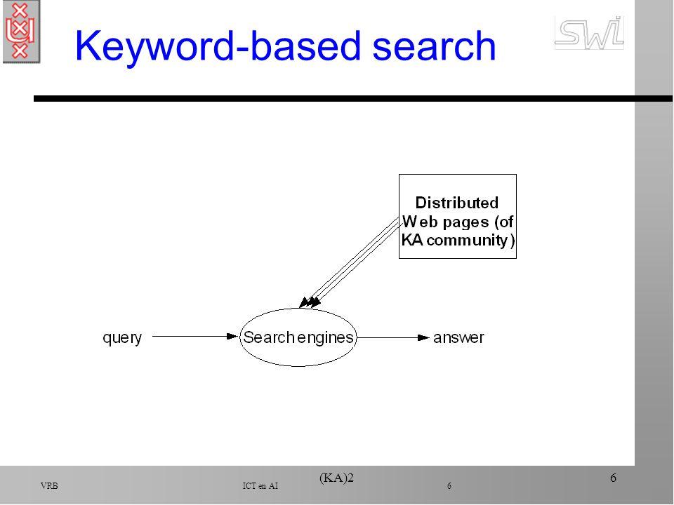 VRB ICT en AI 7 (KA)27 Keyword-based search n Alta vista, Metacrawler, Yahoo, etc.
