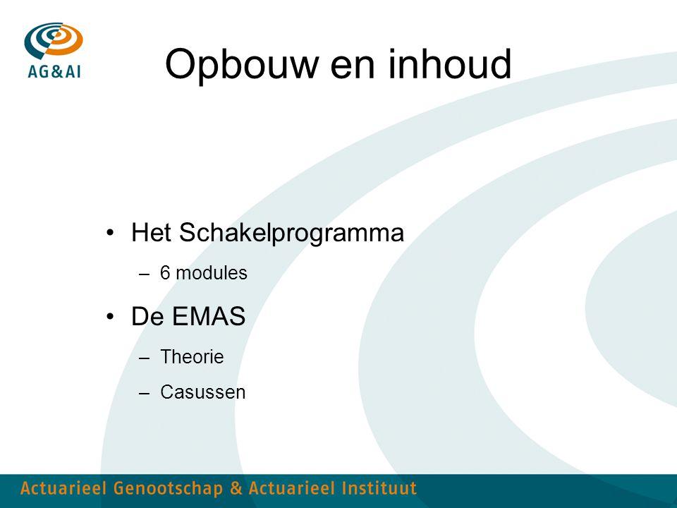 Opbouw en inhoud Het Schakelprogramma –6 modules De EMAS –Theorie –Casussen