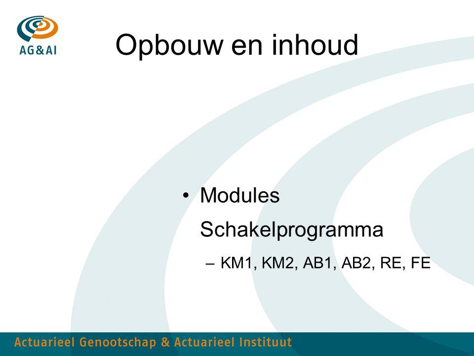 Opbouw en inhoud Modules Schakelprogramma –KM1, KM2, AB1, AB2, RE, FE