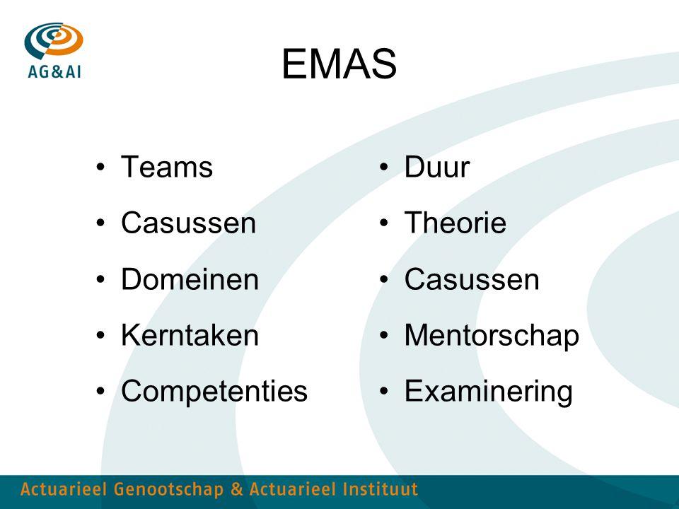 EMAS Teams Casussen Domeinen Kerntaken Competenties Duur Theorie Casussen Mentorschap Examinering