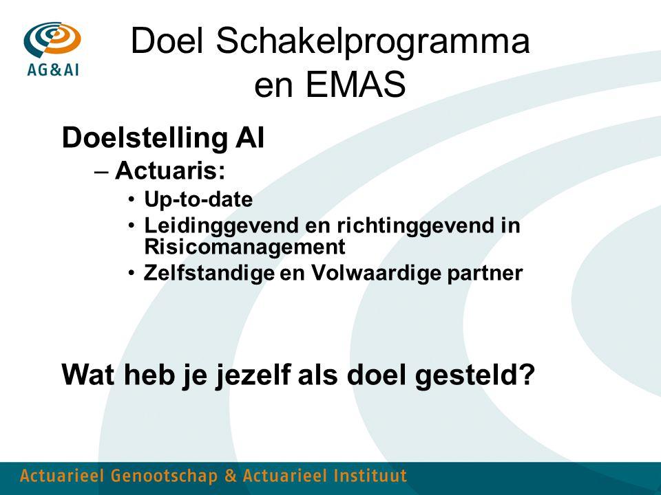 Doel Schakelprogramma en EMAS Doelstelling AI –Actuaris: Up-to-date Leidinggevend en richtinggevend in Risicomanagement Zelfstandige en Volwaardige pa