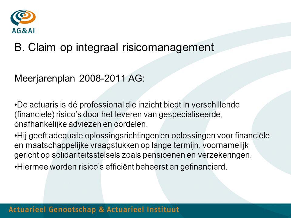 B. Claim op integraal risicomanagement Meerjarenplan 2008-2011 AG: De actuaris is dé professional die inzicht biedt in verschillende (financiële) risi