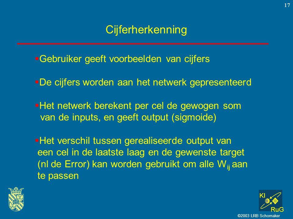 KI RuG ©2003 LRB Schomaker 17 Cijferherkenning  Gebruiker geeft voorbeelden van cijfers  De cijfers worden aan het netwerk gepresenteerd  Het netwerk berekent per cel de gewogen som van de inputs, en geeft output (sigmoide)  Het verschil tussen gerealiseerde output van een cel in de laatste laag en de gewenste target (nl de Error) kan worden gebruikt om alle W ij aan te passen