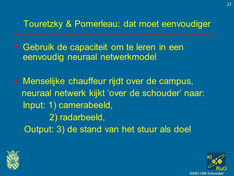 KI RuG ©2003 LRB Schomaker 21 Touretzky & Pomerleau: dat moet eenvoudiger  Gebruik de capaciteit om te leren in een eenvoudig neuraal netwerkmodel  Menselijke chauffeur rijdt over de campus, neuraal netwerk kijkt 'over de schouder' naar: Input: 1) camerabeeld, 2) radarbeeld, Output: 3) de stand van het stuur als doel