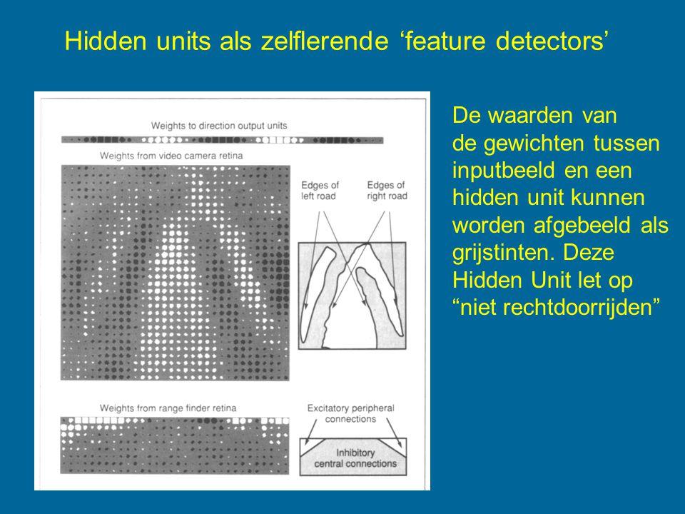 Hidden units als zelflerende 'feature detectors' De waarden van de gewichten tussen inputbeeld en een hidden unit kunnen worden afgebeeld als grijstinten.