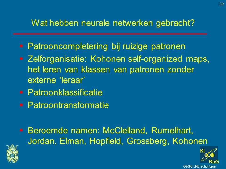 KI RuG ©2003 LRB Schomaker 29 Wat hebben neurale netwerken gebracht.